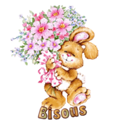 Bisous - BunnyWithFlowers