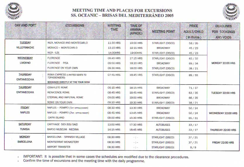 Meeting Time & Places for Excursions