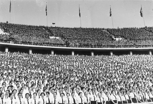 May 1 1937 BDM HJ in the Olumpic Stadium in Berlin celebrate Labor Day