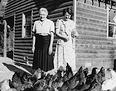 Blanch&Nell feeding chickens 1949