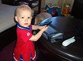"""Back home messin' with Dad's mobile PC. """"I like techie stuff. See ya!"""""""