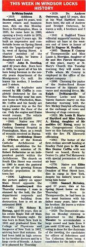 2014-10-05 - MICKEY DANYLUK - THIS WEEK IN WINDSOR LOCKS HISTORY