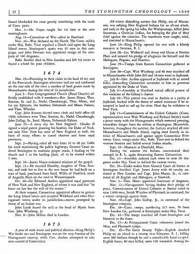 STONINGTON CHRONOLOGY - PAGE 022