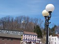 Looking up at the water tower on the hill, on Route 9D in Wappingers