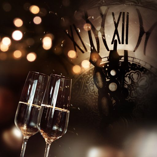 Congratulations with champagne and clock for new year