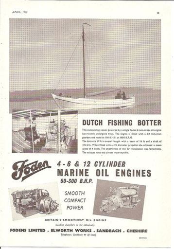 DUTCH FISHING BOTTER BOAT OIL ENGINE 1953