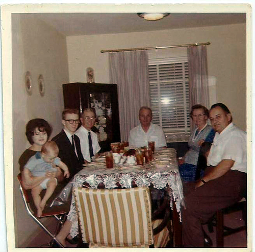 Uncle Thomas with tie and son and daughter-in-law and grandson