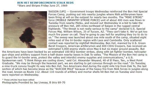 BEN HET REINFORCEMENTS STALK REDS *Stars and Stripes Friday June 27, 1969